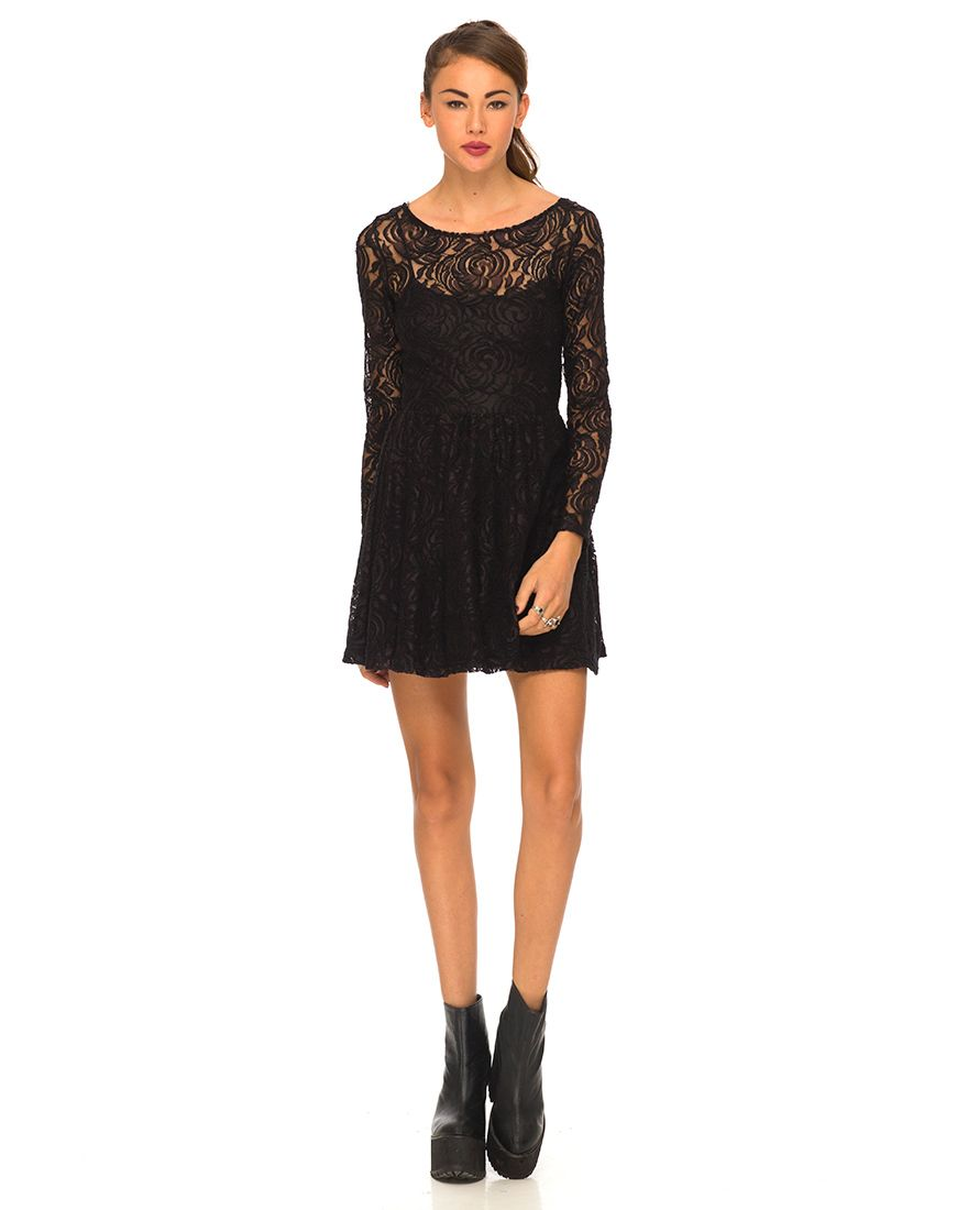 Black dress lace sleeves - Buy Motel Rosey Long Sleeve Skater Dress In Black Rose Lace At