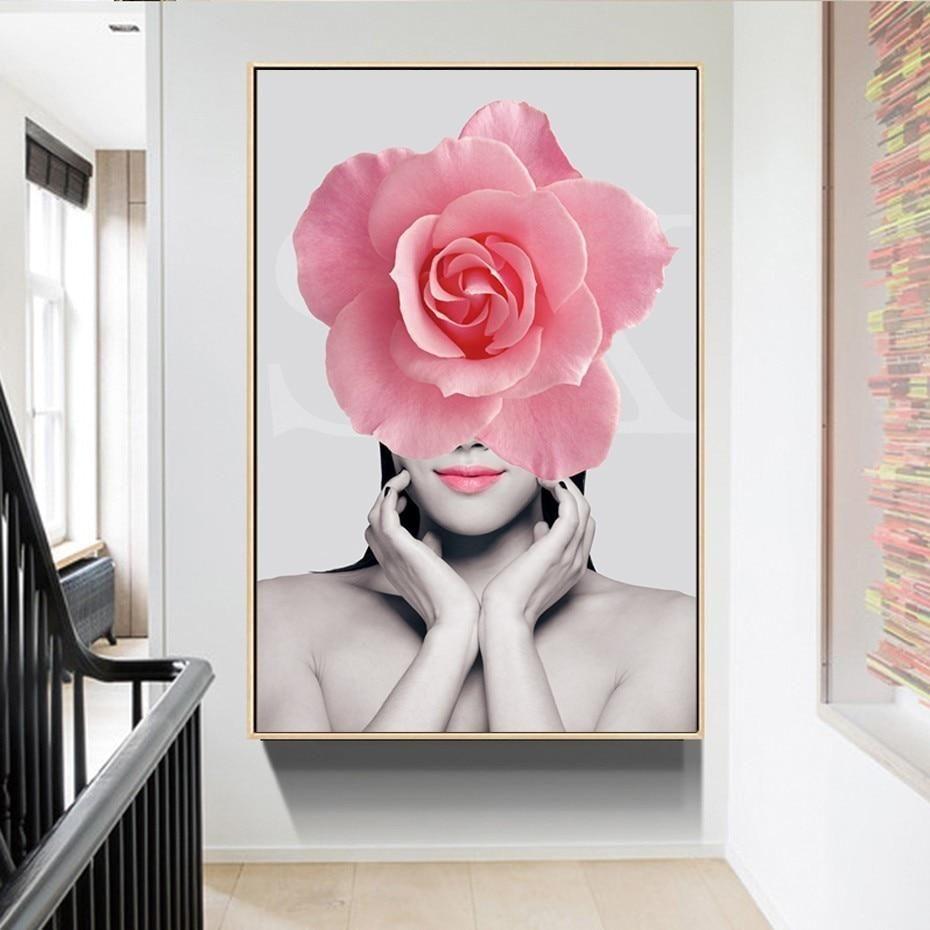 Pink Floral Fashion Figure Modern Salon Wall Art Posters Fine Art Canvas Prints Nordicwallart Com Salon Wall Art Flower Canvas Wall Art Poster Wall Art