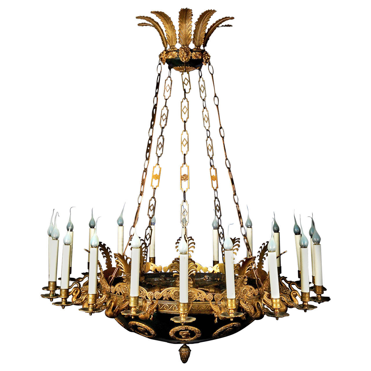 Impressive and Large Antique French Empire Gilt and Patina Bronze Chandelier - Impressive And Large Antique French Empire Gilt And Patina Bronze