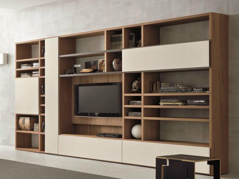 Mueble Modular De Pared En Nogal Con Soporte Para Tv Speed
