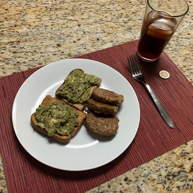 Avocado Toast, Vegan Sausage, and Cold Brew  AKA the first meal cooked back home