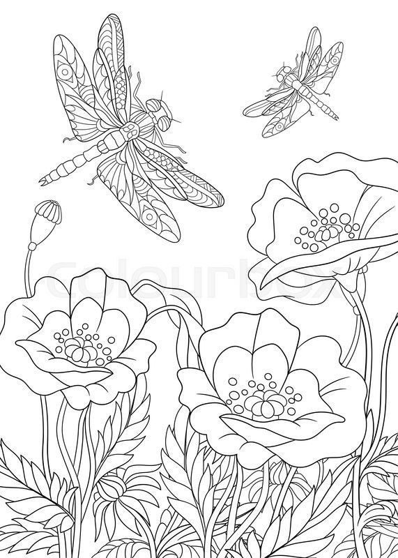 flowers and dragonflies coloring pages | Stock vector of 'Zentangle stylized two cartoon ...