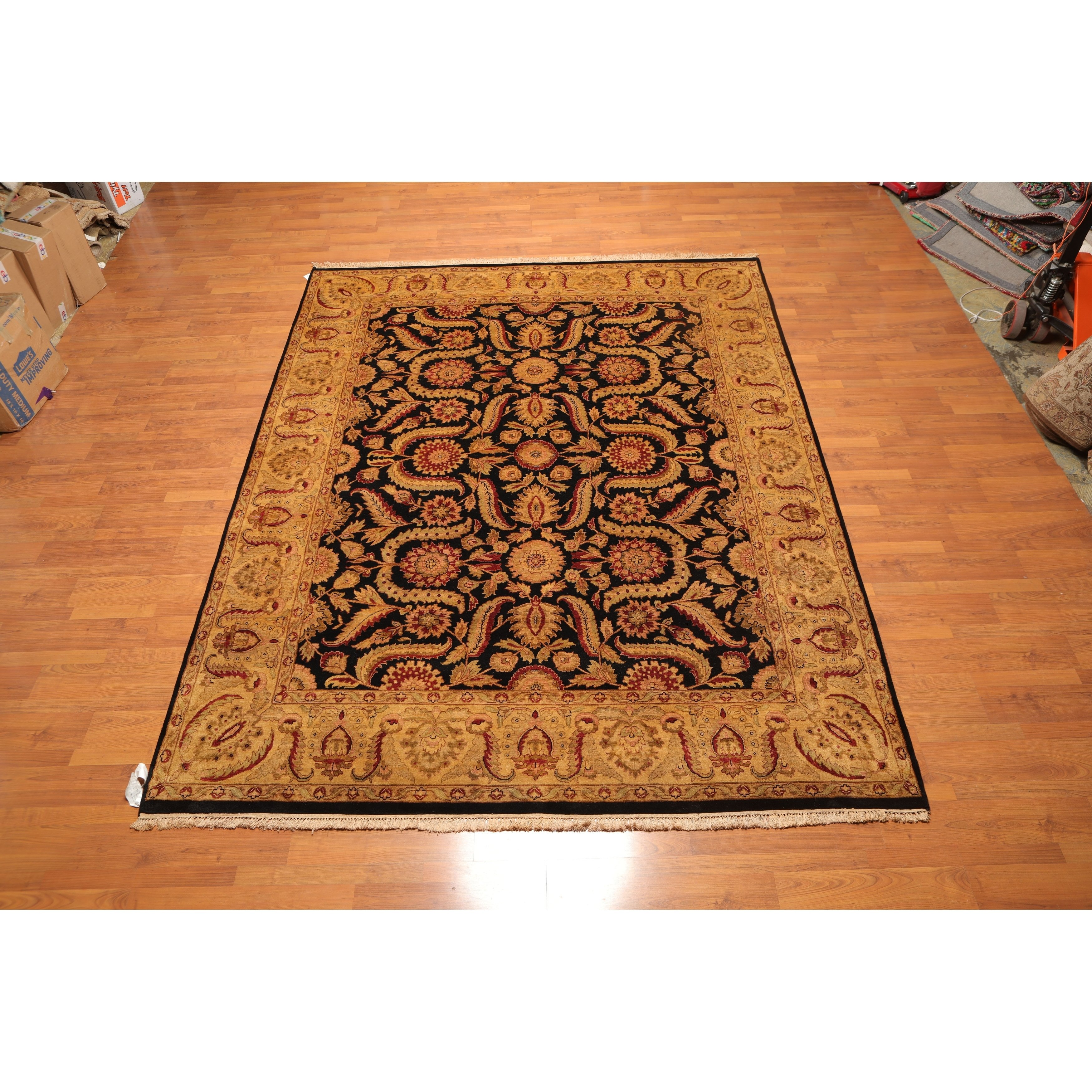 Hand Knotted Wool 150 Kpsi Agra Tea Wash Persian Area Rug 8 X10 3 8 X 10 Black Burgundy Gold Persian Area Rugs Wool Area Rugs Colorful Rugs