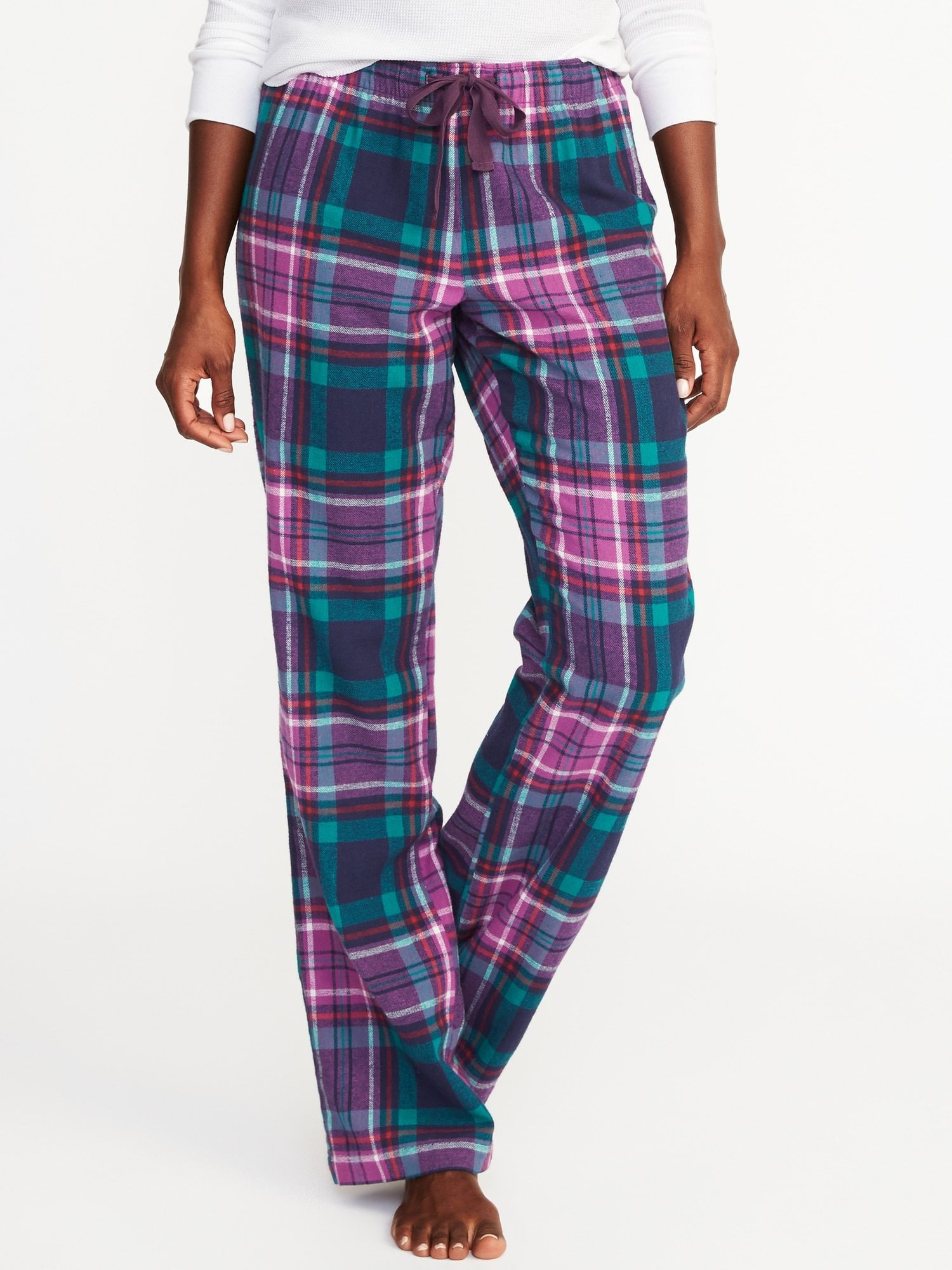 85459bb0c2b7b Patterned Flannel Sleep Pants for Women in Blue and Purple Plaid | Old Navy