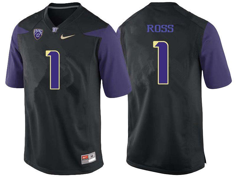 Men Washington Huskies #1 John Ross College Football Jerseys-Black ...