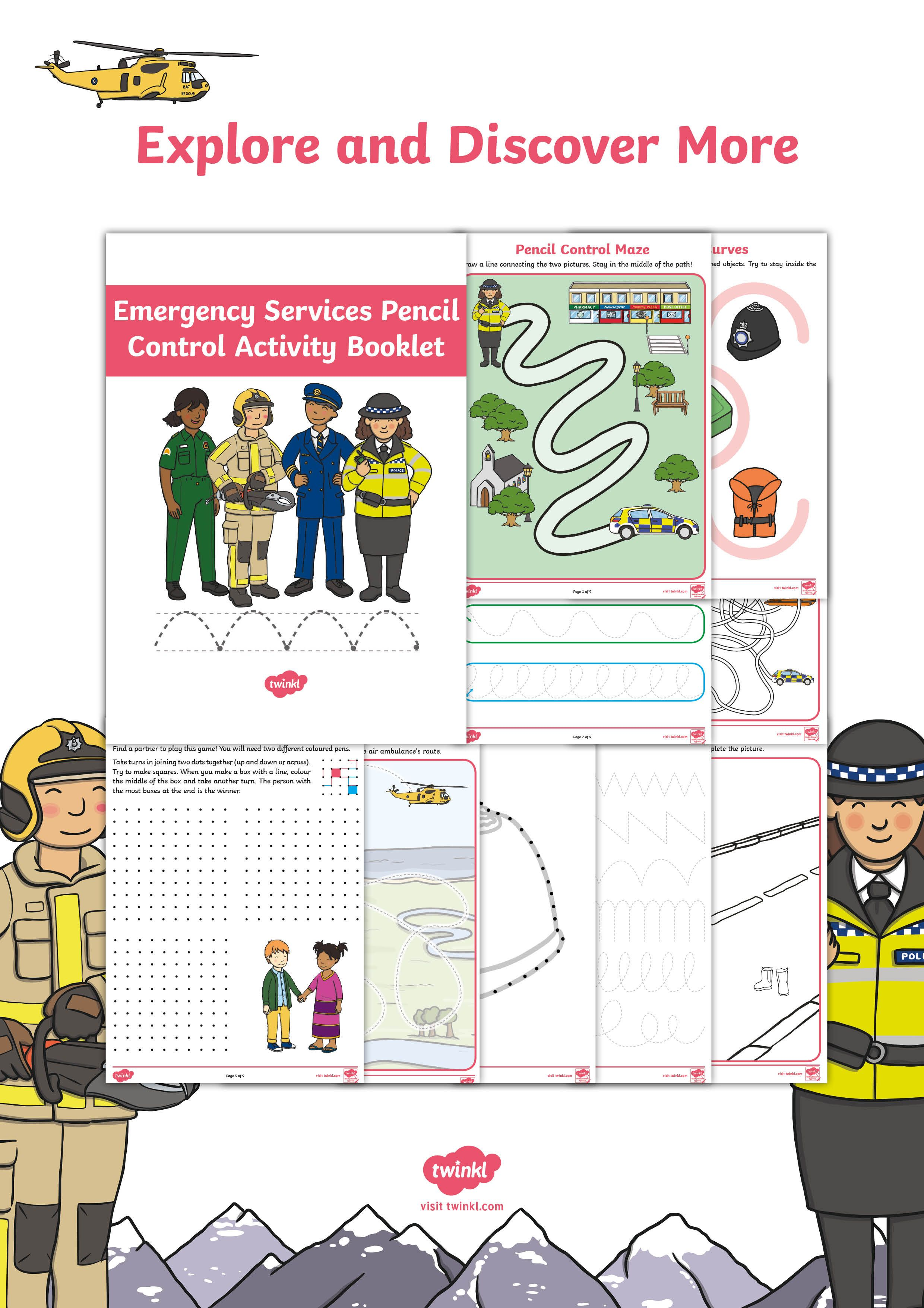 Emergency Services Themed Pencil Control Activity Booklet