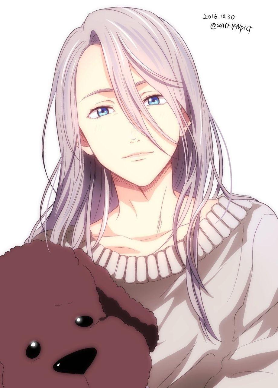 I Love Him In Long Hair Anime Anime Love Yuri On Ice