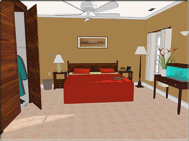 Home Design Gooddesign Of Bedroom Wth Red Bed And Browncolor Wall