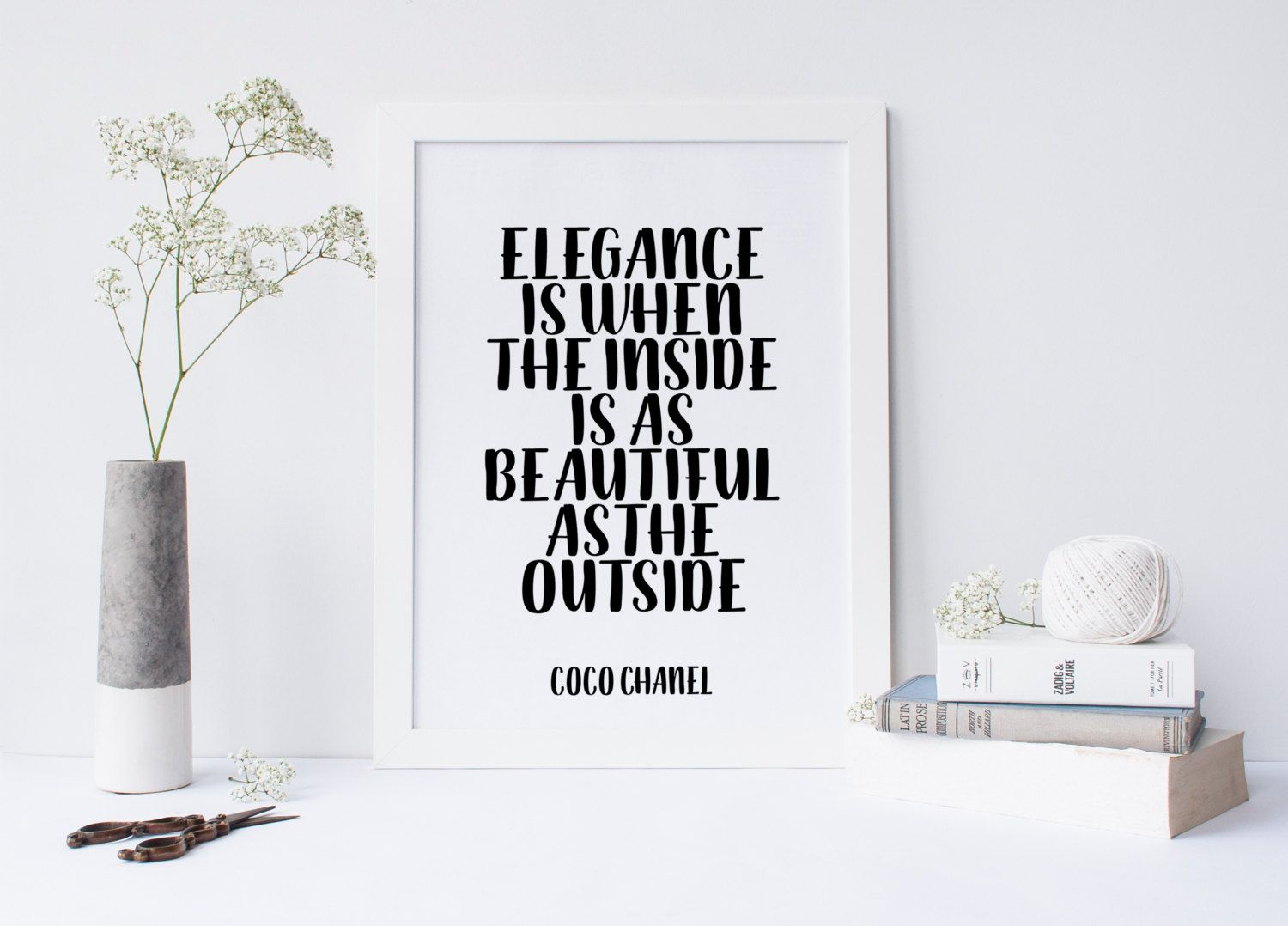 Elegance Is When The Inside Is As Beautiful As The Outside,Chanel Print,Fashion Print,Fashionista,Chic Poster,Typography,coco chanel quote von sweetandhoneyprints auf Etsy