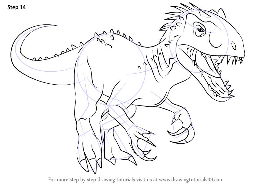 Learn How To Draw The Indomius Rex Dinosaurs Step By Step Drawing Tutorials Ausmalen Zeichnung Dinosaurier Ausmalbild