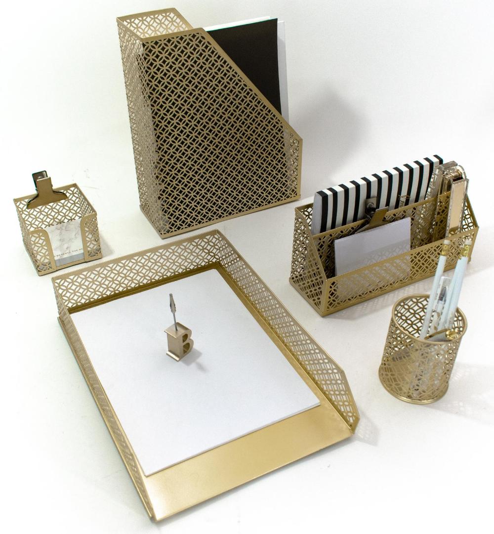 Blu Monaco Gold 5 Piece Cute Desk Organizer Set Cute Office Desk Accessories In 2020 Gold Desk Accessories Desk Organizer Set Desk Accessories For Women