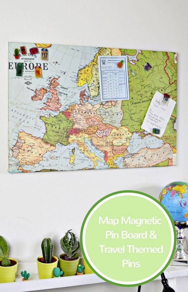 Ikea hack diy upcycled map magnetic board with luggage tag pins ikea hack diy upcycled map magnetic board with luggage tag pins sciox Gallery