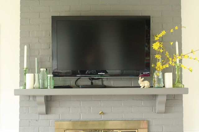 Wooden Mantel For Under A Wall Mounted Tv Hide Cords Electronics Provide Decor Focal