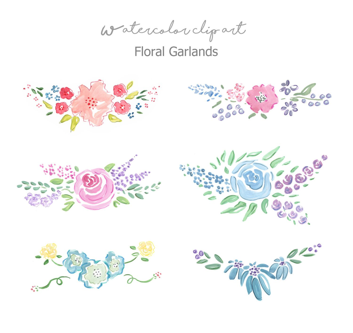 Floral Garlands Clip Art Watercolor Floral Banners Watercolor