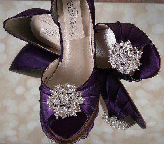 Wedding Shoes Plum Peeptoe By EllieWrenWeddingShoe