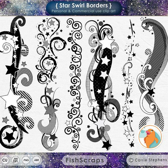 Star Clip Art Border Swirls Star Border Clipart