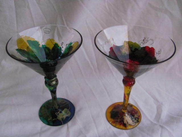 Abstract Romanian Hand blown Cocktail Martini glasses red blue yellow green gold #Euroglass