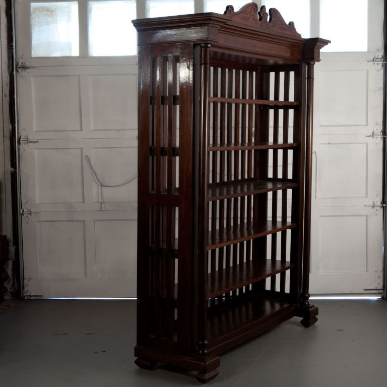 India Late 19th Century Anglo Indian Large Teak Bookcase With Open