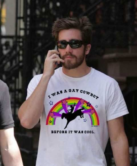 Gotta love a guy who's secure enough about his sexuality that he can proudly wear a shirt with a rainbow and a unicorn on it!