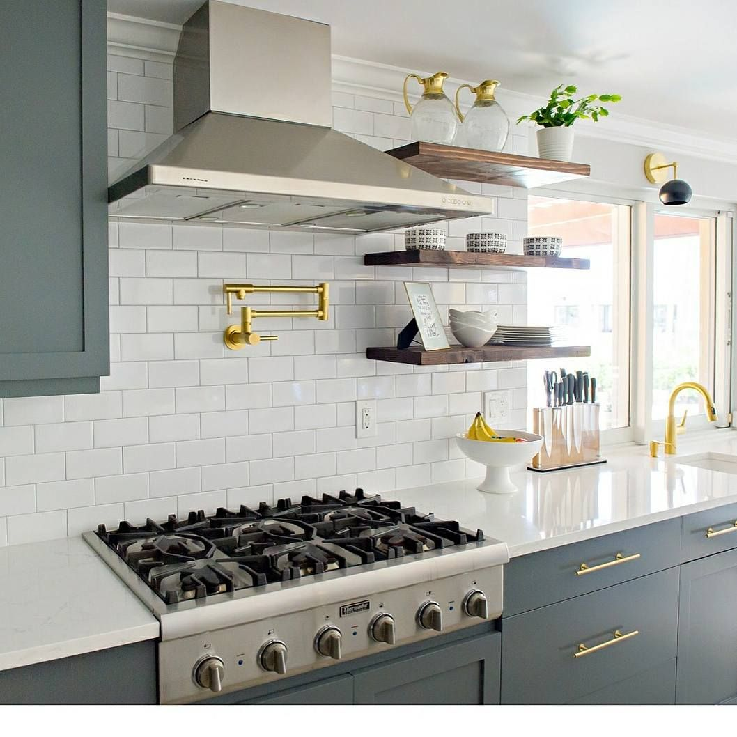 Best Modern Kitchen With Grey Cabinets White Subway Tile 400 x 300