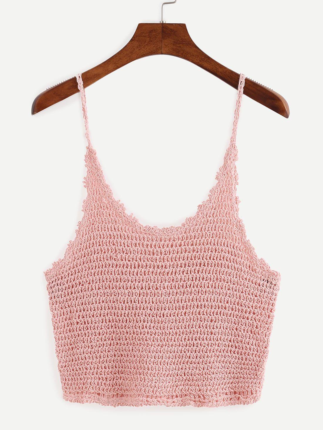 368dafcf7 Crop+Crochet+Cami+Top+-+Pink+12.99