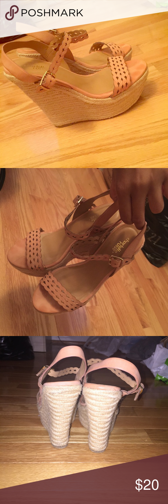Pink wedges Only worn twice -- Cute, Comfortable fit Charlotte Russe Shoes Wedges