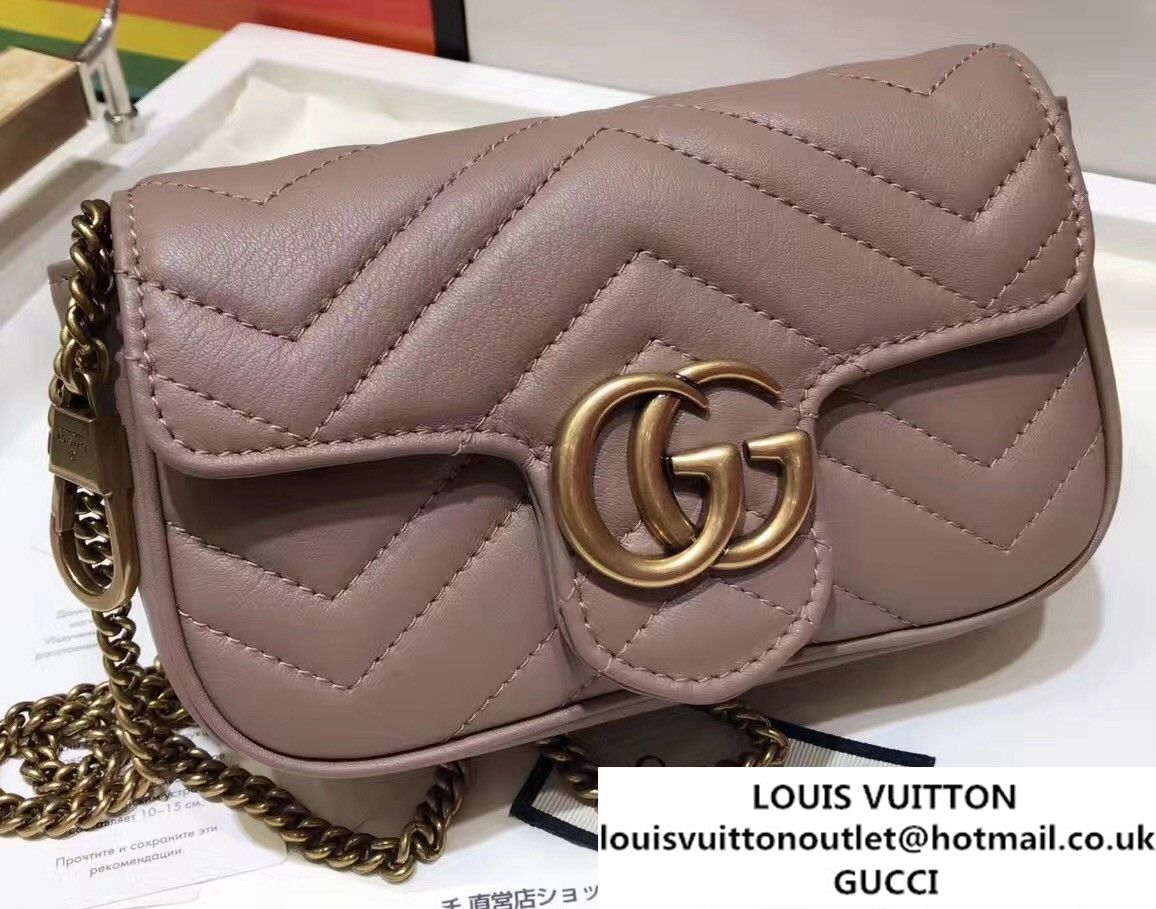 46d18ce1d Gucci GG Marmont Matelass Chevron Super Mini Chain Shoulder Bag 476433 2017