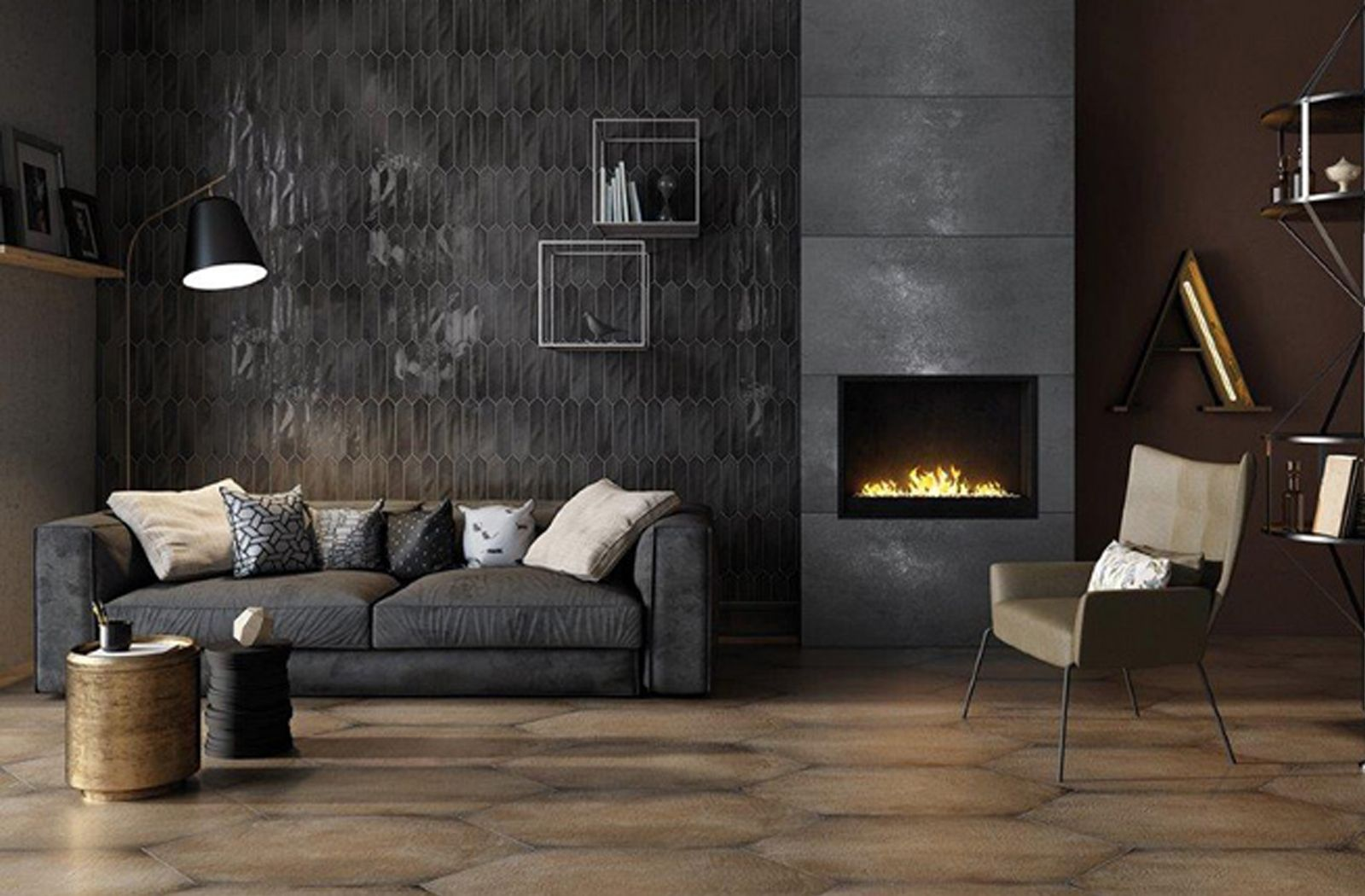 Dark Luxurious Living Area With Feature Wall Featuring Crayons Wall Tile By Ceramiche Settecento Home Carpet Wall Tiles Interior Design #wall #tiles #design #for #living #room