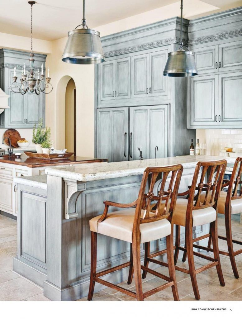 French Country Kitchen in Blue Color Scheme