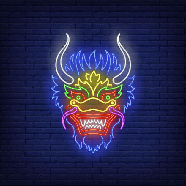 Download Beautiful Dragon Head Neon Sign for free