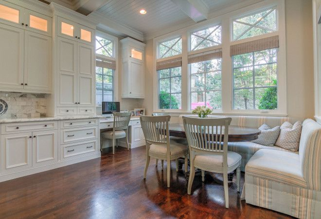 Kitchen Nook With Extended Kitchen Cabinet Kitchen Desk And Beadboard Coffered Ceiling Kitchen Nook Kitchen Des Kitchen Layout Kitchen Nook Home Decor Sites