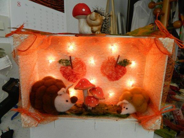 Basteln einer herbstlichen Lichtkiste #weinkistendekoweihnachten
