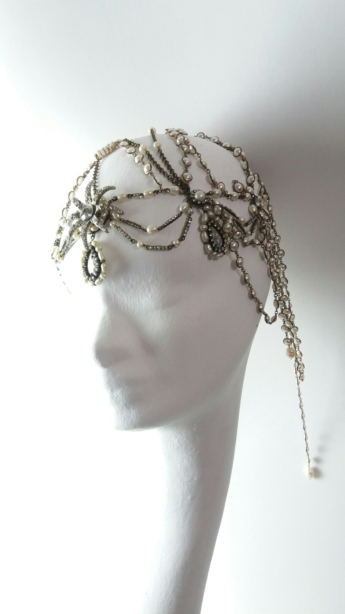 A Pearls Headpiece Belle Epoque Romantic Odalisk Wedding Bride Inspiration Star Headpiece by Marco Apollonio
