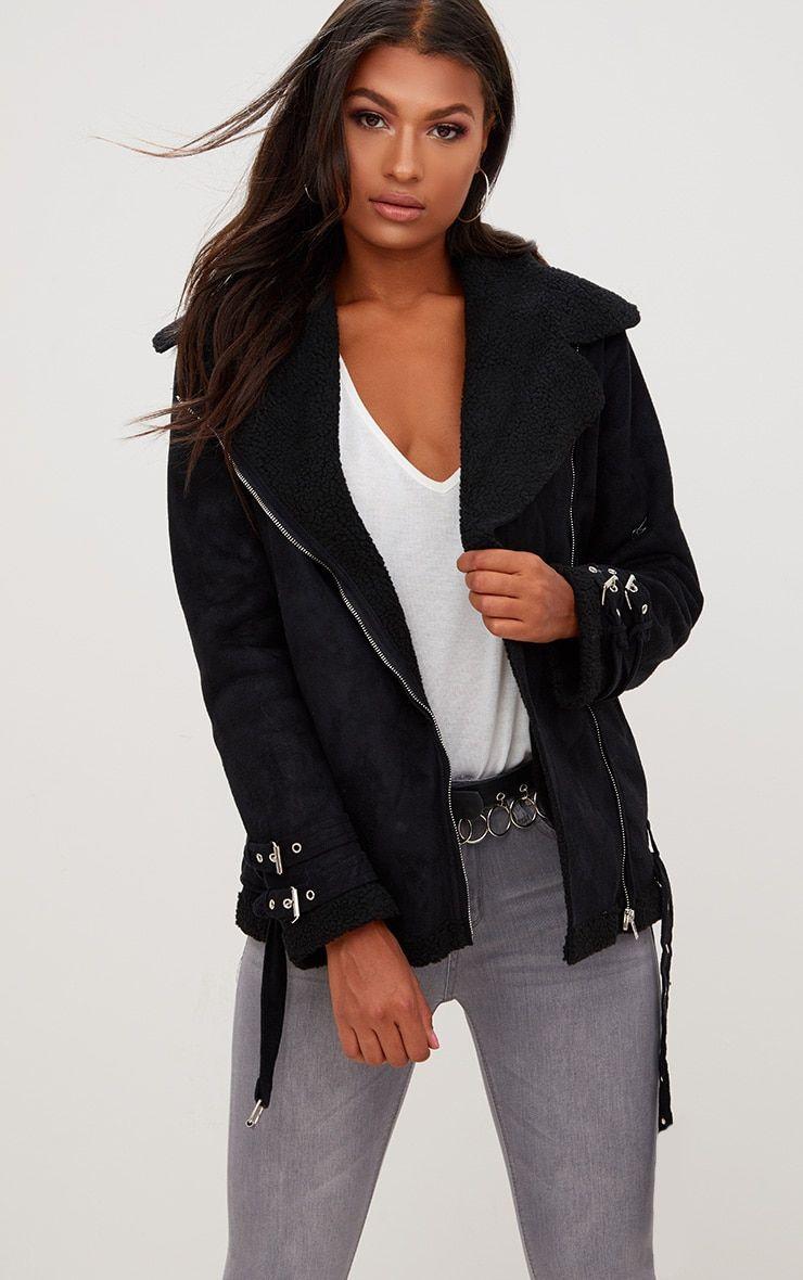 Emilia Black Faux Suede Aviator Jacket Aviator Jackets Jackets Coats Jackets Women [ 1180 x 740 Pixel ]