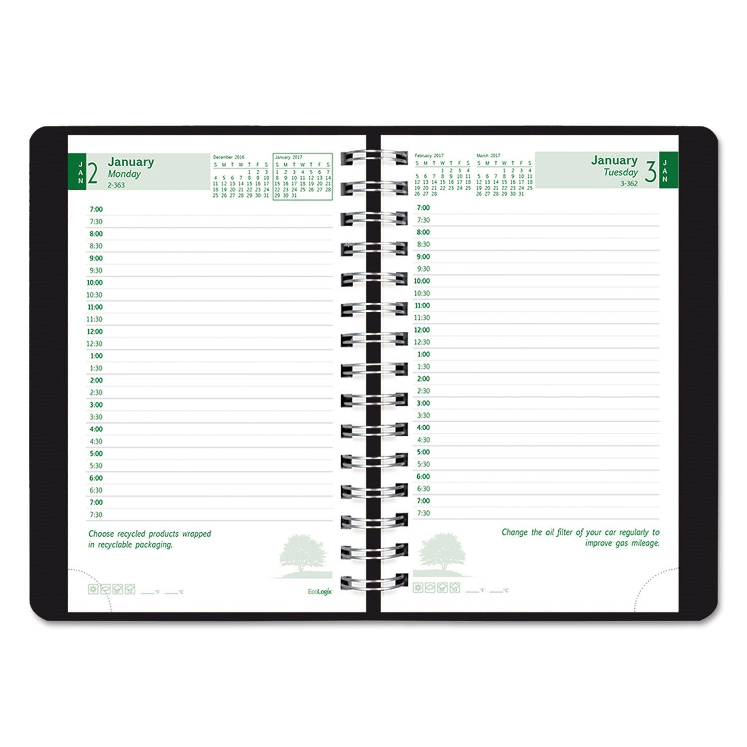 Ecologix Recycled Daily Planner, 30Minute Appts