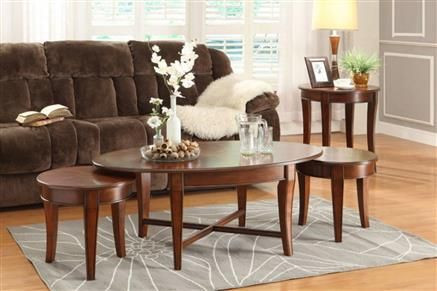 Violetta Transitional Warm Cherry Wood Coffee Table Set