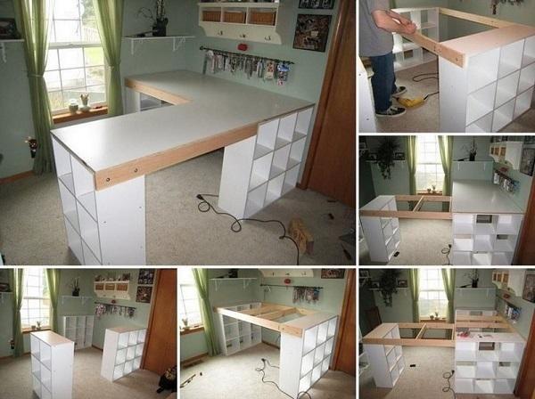 diy cr er un plan de travail ou un bureau avec des. Black Bedroom Furniture Sets. Home Design Ideas