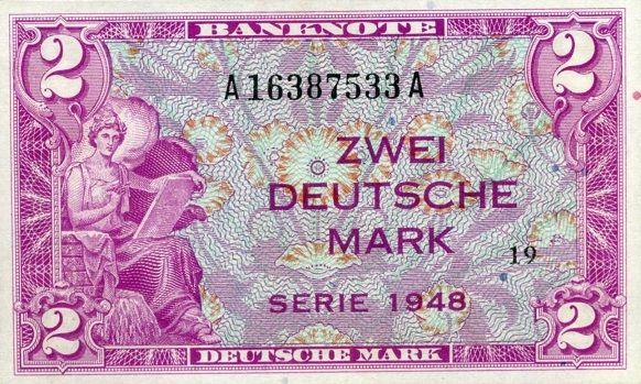 2 Mark 1948 Bank Deutscher Lander Kassenfrisch Banknotes Money Marks Karma Sutra