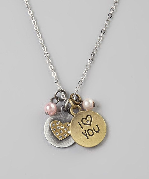 Look at this Sugar & Vine Two-Tone Heart Charm Necklace on #zulily today!