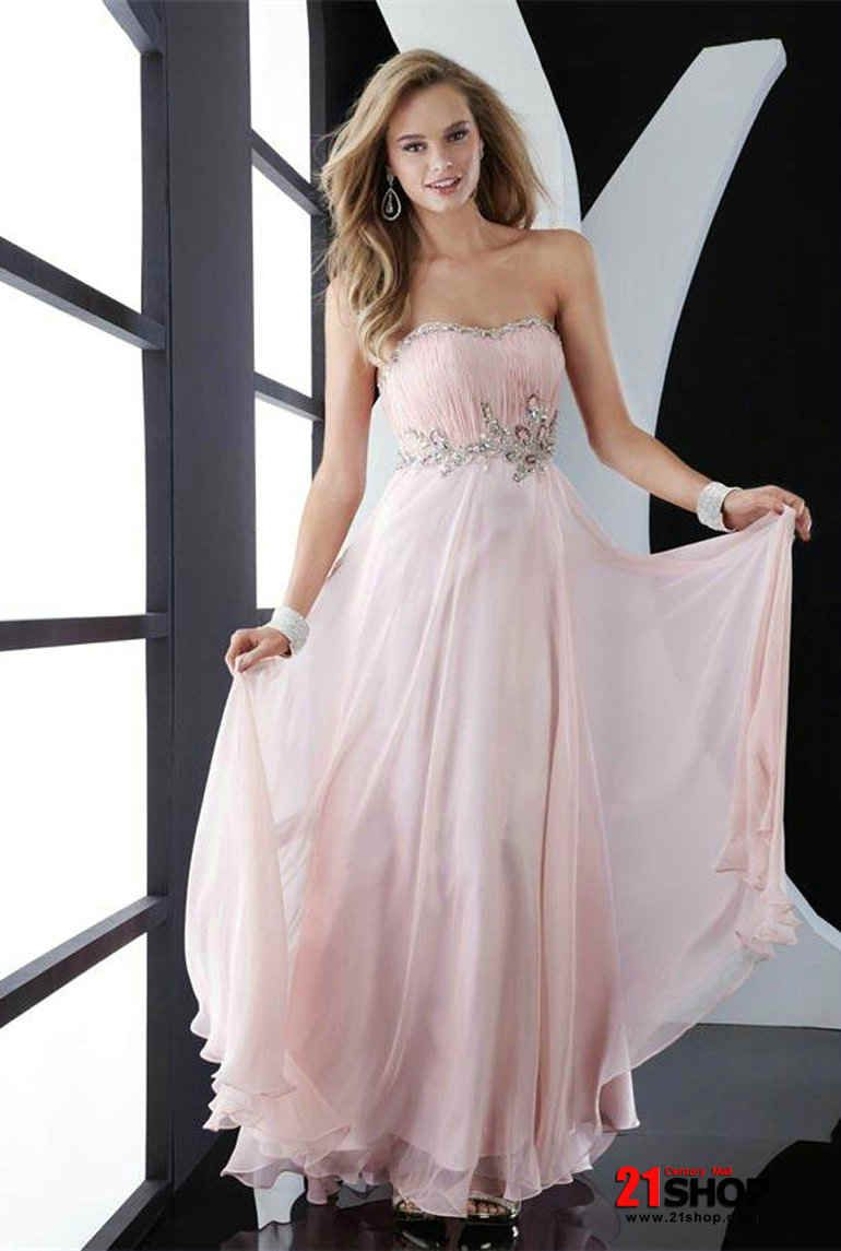 Pink Evening Gowns | Low Priced Light Pink Prom Dress Beaded A-line ...