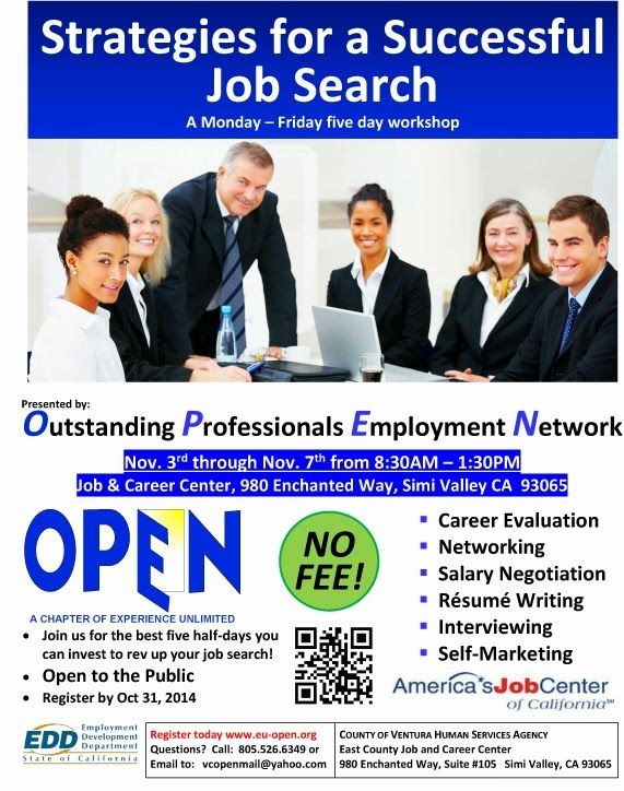 Open Five Day Workshop Strategies For A Successful Job Search