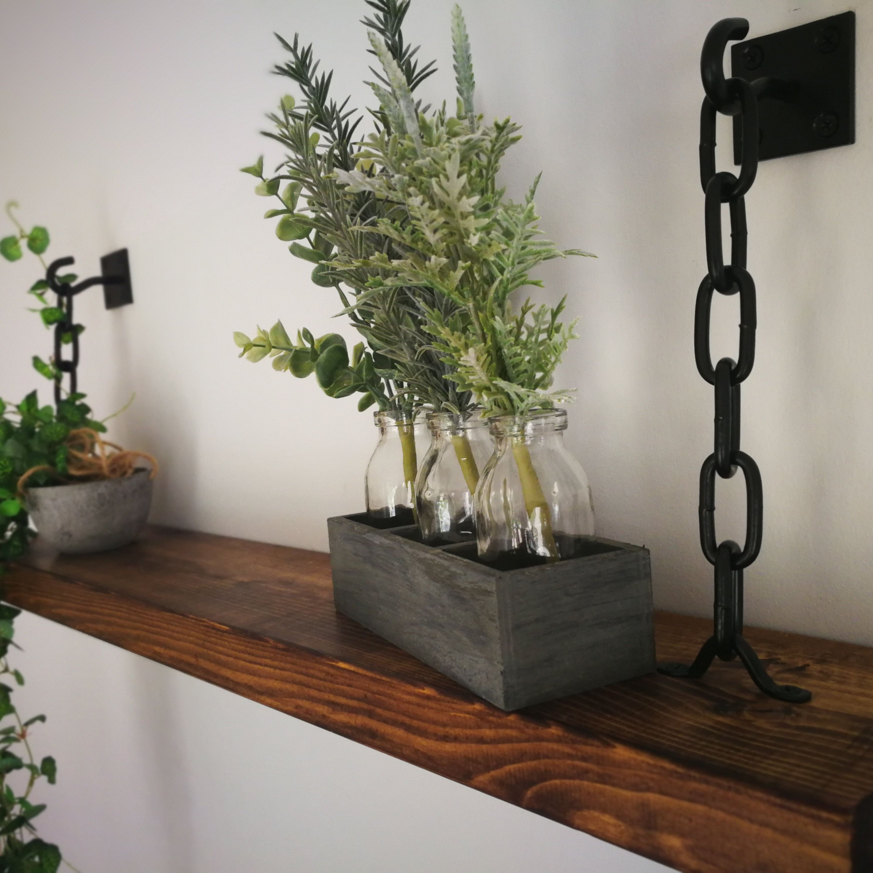 Rustic Handmade Solid Black Steel Chain Floating Shelves