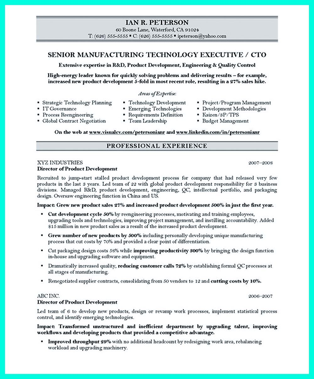 cto resume or chief technical officer resume can be considered as resume for senior level