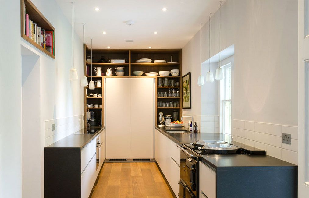 Clever contemporary galley kitchen with 2 different