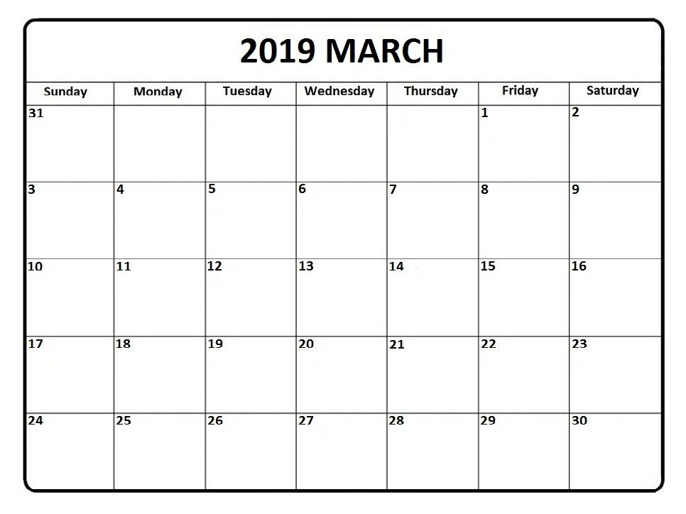 Free Printable March 2019 Calendar Cute With Images Monthly