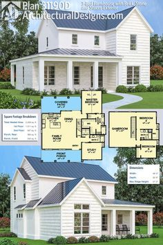 Architectural Designs 3 Bed Farmhouse Plan 31190D Has A Mix Material Exterior Brick Wood And Stucco Gives You Over 2400 Square Feet Of Heated Living