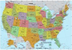 Map Of The United States With Each State In A Different Color And - Mountain ranges in us map