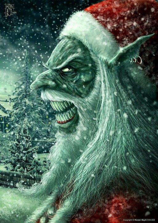 Horror Weihnachtsbilder.Creepy Santa Elf Monster Santa N Easterbunny Halloween