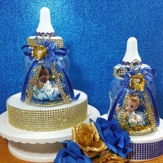 2 BABY BOTTLE Centerpieces For Royal Prince By PlatinumDiaperCakes