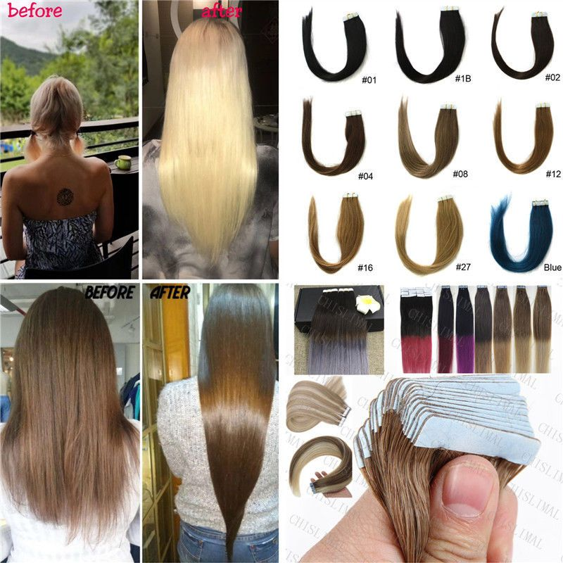 Seamless Glue Tape In Skin Weft Pu Blonde Remy Human Hair Extensions